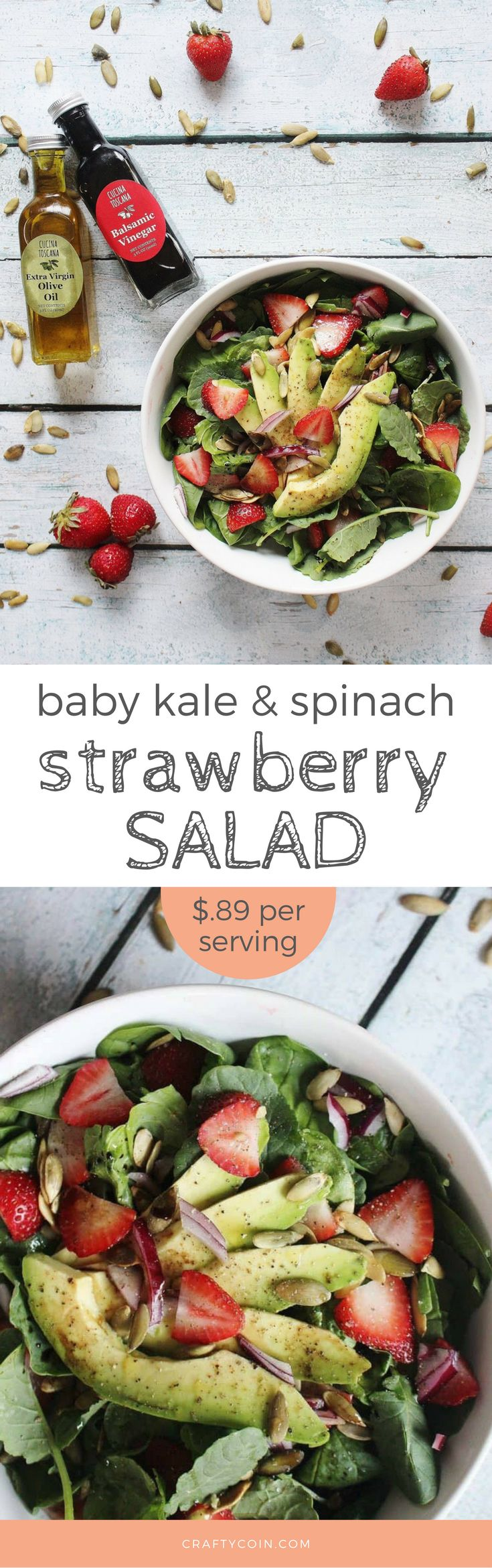 This quick and healthy Baby Kale and Strawberry Spinach salad is perfect for a light summer dish! Enjoy it as a side or add your favorite protein (chicken and steak are great additions!) to make it a full meal.