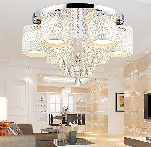 Moderne Kreative Rundschreiben Led Deckenleuchte Licht Kristall Lampe Schlafzimmer Wohnzimmer Warm Farbwechsel Restaurants 6 Head Crystal