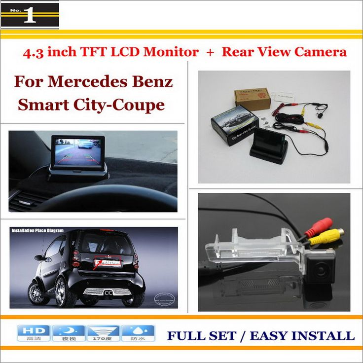 """Auto Back UP Reverse Camera + 4.3"""" Color LCD Monitor = 2 in 1 Rearview Parking System - For Mercedes Benz Smart City-Coupe"""