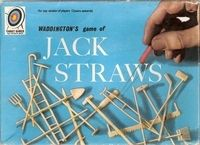 Jack Straws, I loved miniature things, so I used to think that the little cream plastic rakes, crutches etc, were lovely :)