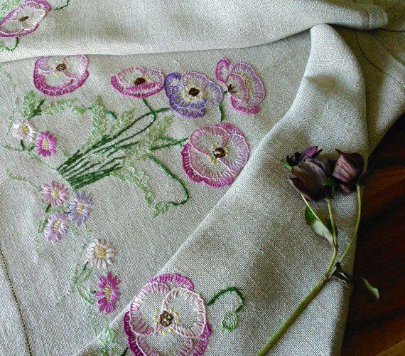 Vintage Hand Embroidered Poppies Linen Table by GardenOfCrinoline