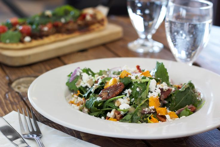 MILE HIGH SALAD Wild young kale, caramelized pecans, roast pumpkin, red onion, crumbled feta, with a honey mustard vinaigrette 1609 Restaurant & Lounge | Food Photos