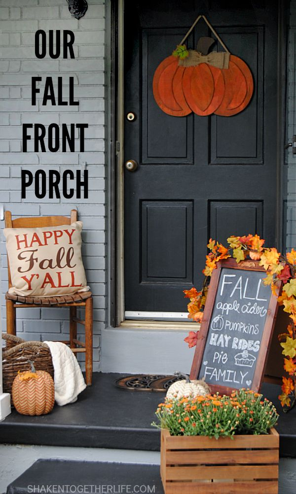 Mums tucked into a stained crate, Fall subway chalkboard art, pumpkins galore…