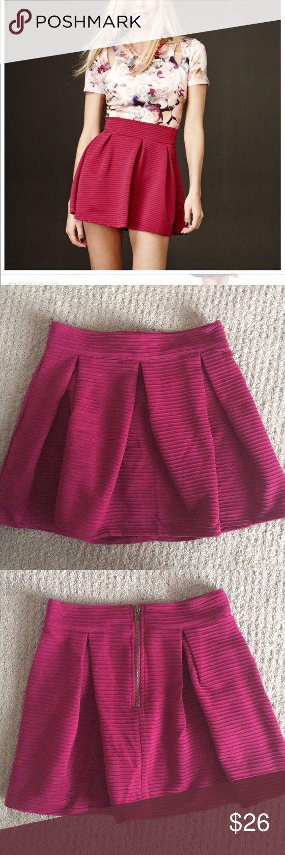 Pretty Little Liars Hanna Skirt I only wore this skirt once! It's super cute, and it's in great condition! It's more of a plum color. It's a pleated skirt, with a ribbed knit material. Size small. It's part of the Pretty Little Liars Line from Aeropostale! Aeropostale Skirts Mini
