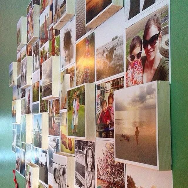 """Re-create this stunning photo display with 4x4"""" prints or decals & 4x4"""" photo blocks! Hats off the creative @sarahbohannen (via themagicallymundane.blogspot.com"""