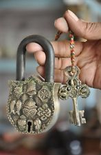 Brass Fine Handcrafted Unique Fish, Conch , Bell , Flower Embossed 2 Key Padlock