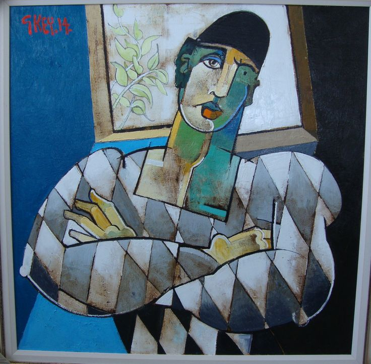 """'Harlequin with Arms Folded' by Geoffrey Key (oil on canvas. 36"""" x 36"""")"""