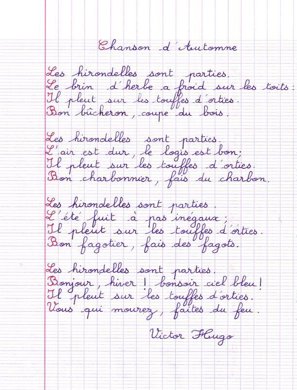 Chanson d'automne de Victor Hugo