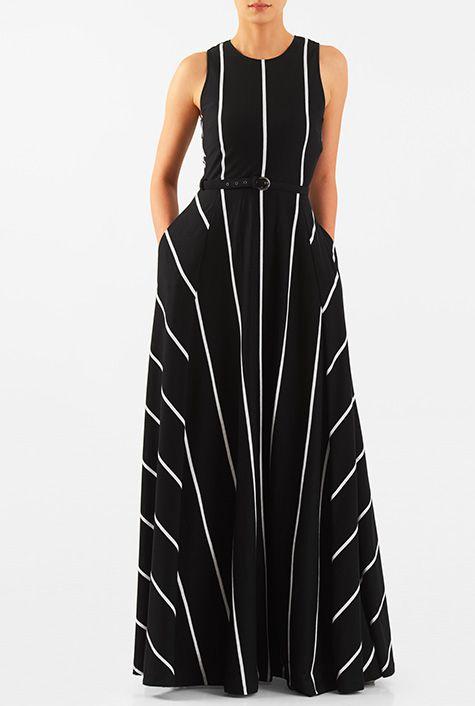 Stripe cotton knit belted maxi dress #eShakti