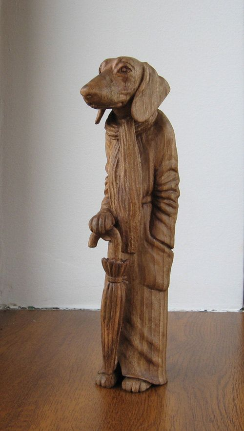 Dachshund with umbrella - Wooden figurine, hand carving by WoodSculptureLodge on Etsy