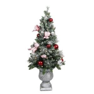 4 ft battery operated frosted mercury potted artificial christmas tree with 50 clear led lights redspinks - 4 Ft Christmas Tree