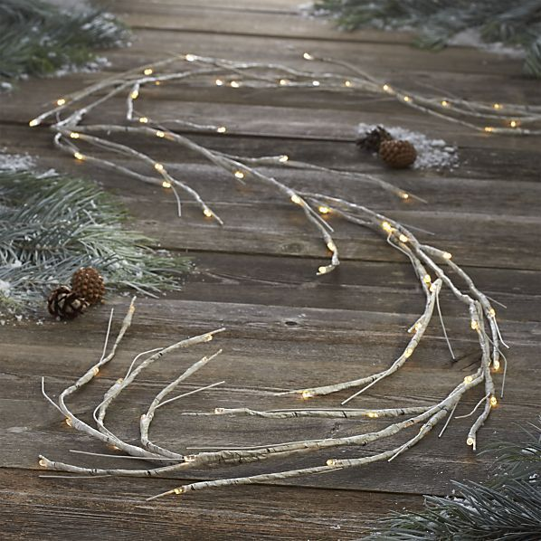Light up live or faux greenery with a LED garland detailed with natural, birch-like patterning. Each battery-operated garland has 72 warm-toned LED bulbs and is fully adjustable along its 10-foot length. No pesky cords and a waterproof battery box means you use it indoors or out.