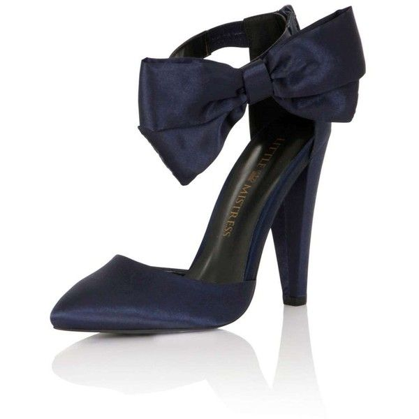 **Little Mistress Navy Satin Bow Heels featuring polyvore, women's fashion, shoes, pumps, blue, little mistress, navy blue shoes, navy pumps, blue pumps and blue shoes