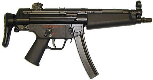 "HK MP-5N. Modern version developed for US Navy. Features plastic trigger group of latest design, with ambidextrous selector lever and ""icon""markings. Barrel is threaded to accept US-made detachable silencers, in addition to HK standard three-lug mounts. Retractable buttstock of A3 configuration."