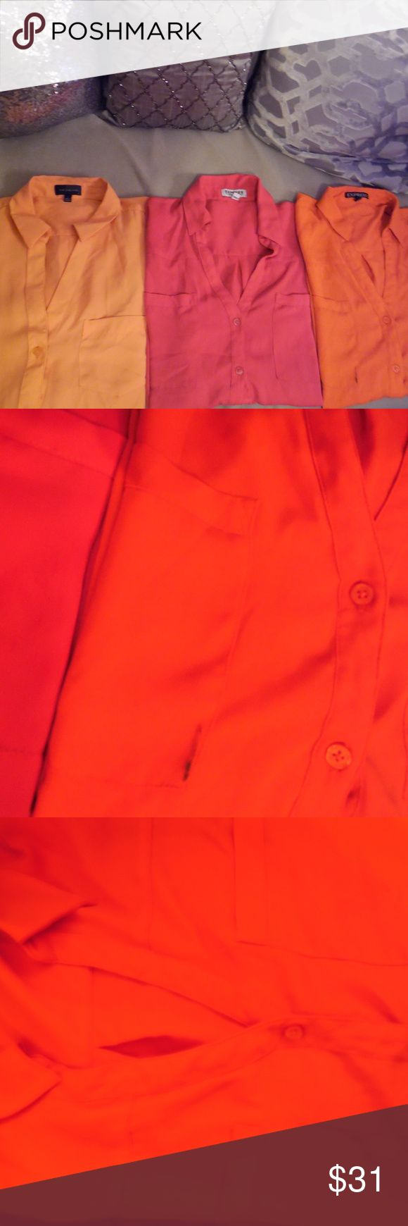 """Workshirt Bundle- EXPRESS & LIMITED - Large Pink & Dark orange- EXPRESS """"The Portofino"""" Peach-The Limited """"The Ashton""""  Note: Dark orange has pen mark on front pocket- All could use a simple trip to the dry cleaner. Otherwise good condition. Express Tops Button Down Shirts"""