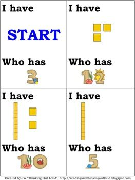 "Here are two sets of ""I have, who has?"" cards for identifying numbers 0-30."