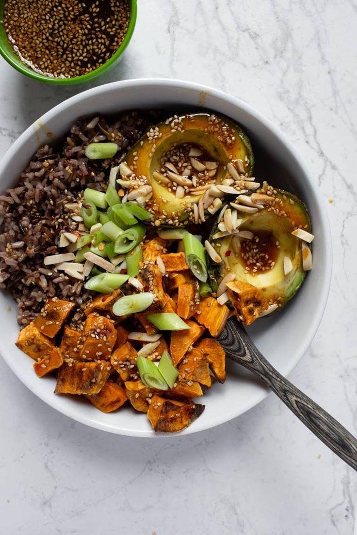 Teriyaki Sweet Potato Avocado Rice Bowl