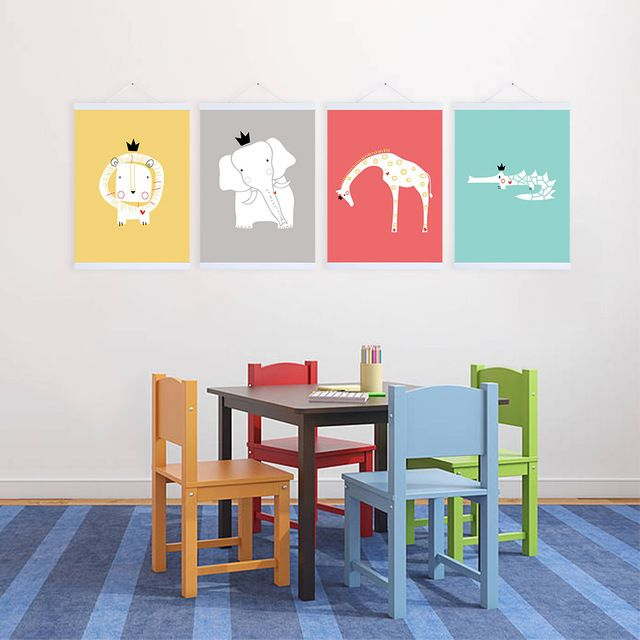 4 King Forest Abstract Cartoon Animals Lion Giraffe Elephant A4 Poster Prints Minimalist Canvas Painting Kids Room Wall Art Gift