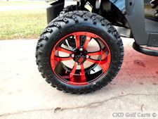 Custom wheels and tires for golf carts