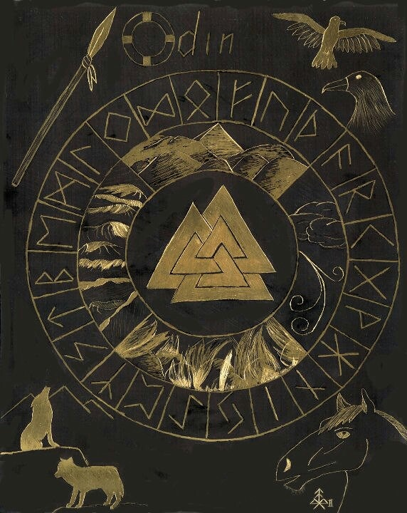 """Odin's symbol is the Valknut, the symbol for creation, preservation, and destruction. """"I know that I hung on a windy tree nine long nights, wounded with a spear, dedicated to Odin, myself to myself, on that tree of which no man knows from where its roots run."""" (Odin in the Havamal, a collection of Old Norse poems from the Viking age)."""