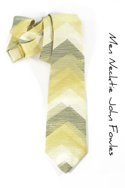 Wedding Mens Necktie John Fowles-yellow and grey by speaklouder