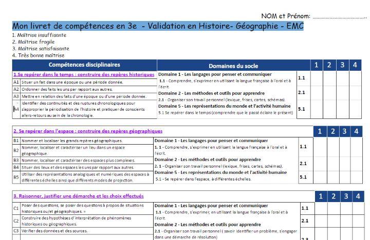 http://www.hgndp.com/rforme-du-collge/reforme-hg Dans le cadre du nouveau socle commun, comment suivre les acquis des élèves afin de valider les Connaissances/Compétences ? Une proposition d'un livret de validation en Histoire-Géographie-EMC. L'idée d'un livret me semble intéressante car à partir de juin 2017 nous devrons remplir le LSUN