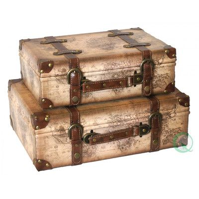 """Quickway Imports Old World Map Leather Vintage Style Suitcase. 2 Piece Set.    Small: 14"""" H x 10"""" W x 4.9"""" D;    Large: 17"""" H x 12"""" W x 6"""" D"""