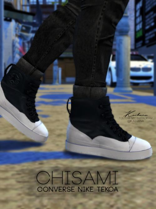 """kai-hana:  """" CHISAMI CONVERSE NIKE TEKOA (TS4)  I tried for the very first time converting stuff from The Sims 3 and since there's not much CC for male and not much shoes I wanted to use the amazing shoes from Chisami, I'm still learning so you will..."""
