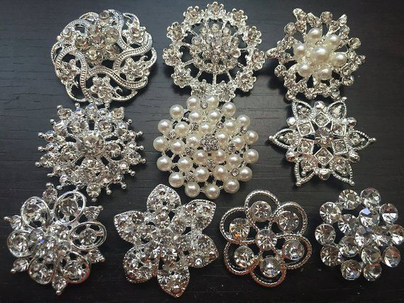 10 Pcs Rhinestone Buttons Brooches Assortment Large Etsy Wedding Brooch Rhinestone Button Crystal Buttons