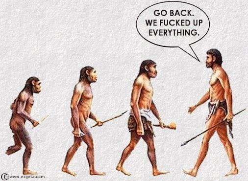 """""""Consapevolezza dell'evoluzione umana"""" di Winchel Yu. """"Torniamo indietro. Abbiamo già incasinato tutto."""""""