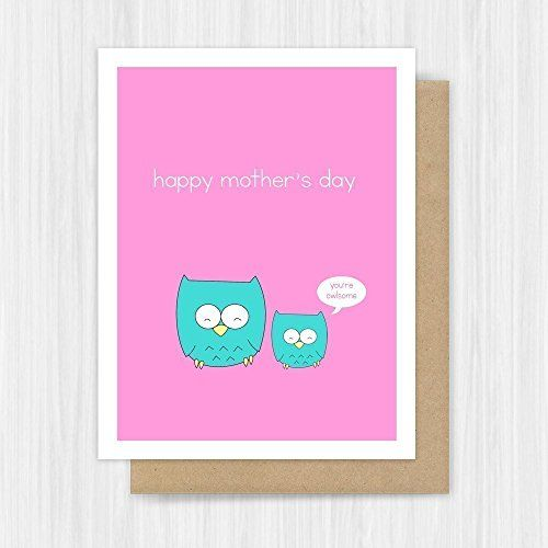 Funny+Mothers+Day+Card+Owl+Pun+Handmade+Greeting
