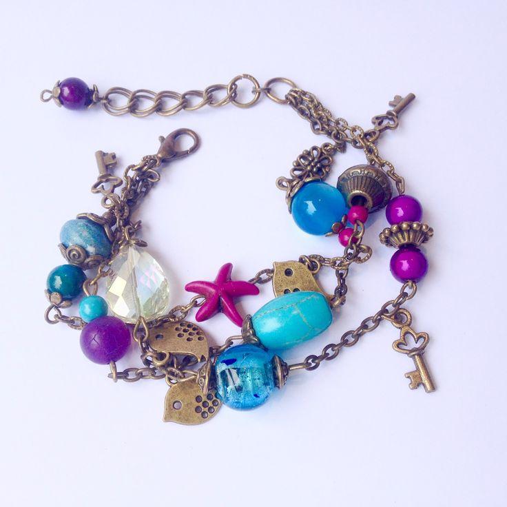 Bracelet breloques trois rangs ethnique bohème chic bronze antique perles lampwork jade cristal Swarovski turquoise : Bracelet par la-perruche-de-rio