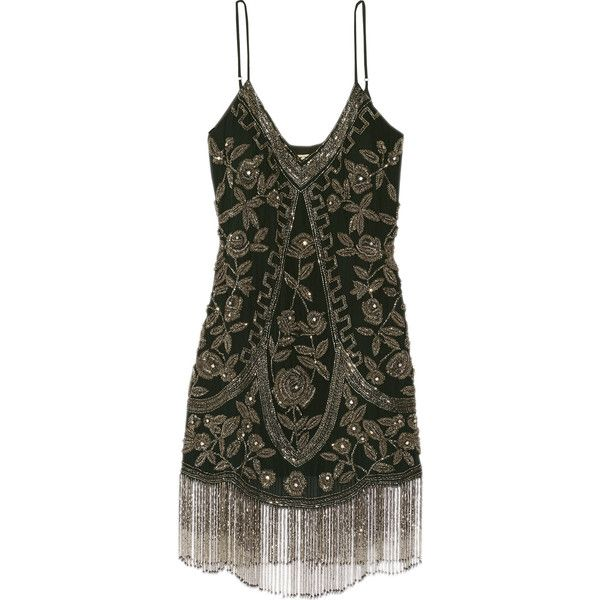 Haute Hippie Fringed embellished silk mini dress found on Polyvore featuring dresses, emerald, loose dresses, loose fitting dresses, embellished dress, embelished dress and fringe mini dress
