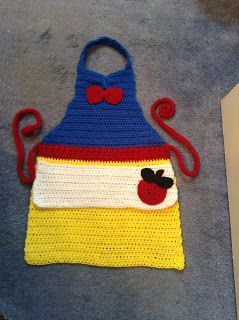 Crochet Snow White inspired apron...2T - 5 years age...  The Perfect Stitch...: Crochet Princess Toddler/Kids Aprons (for playing ...