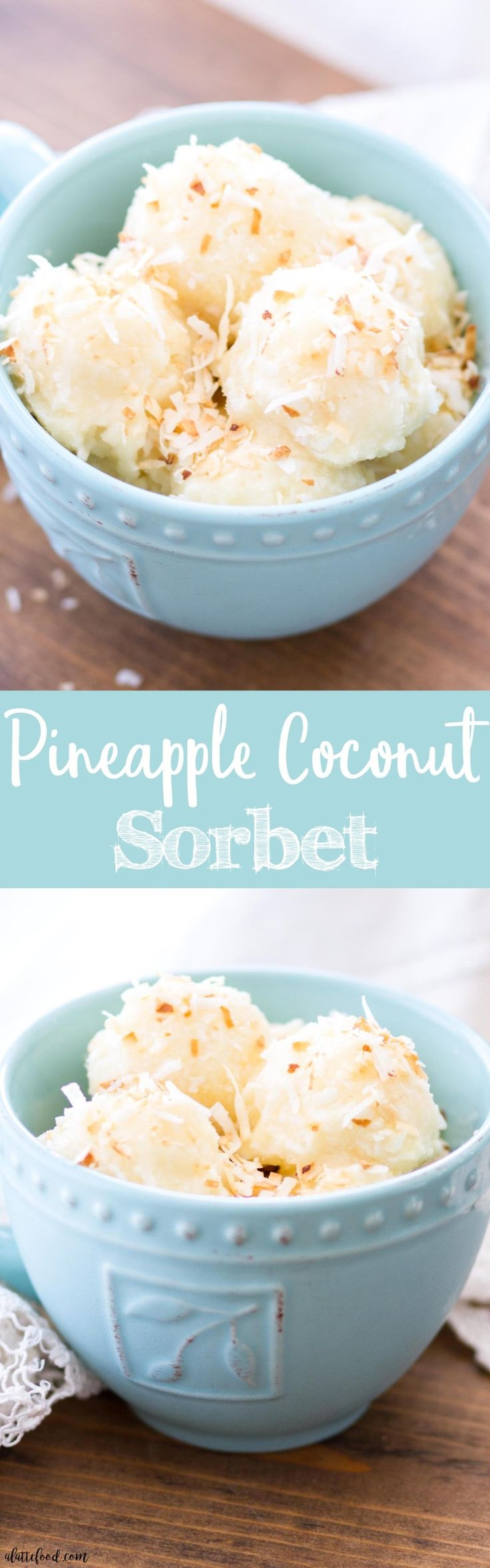 This homemade pineapple coconut sorbet is made with only 6-ingredients and is refined sugar-free and dairy-free! This easy frozen dessert is easy to make, full of flavor, and totally dreamy!