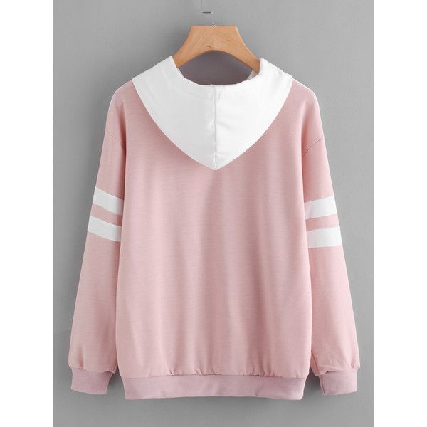 SheIn(sheinside) Contrast Panel Varsity Striped Hoodie ($16) ❤ liked on Polyvore featuring tops, hoodies, long sleeve hoodies, color block hoodie, striped hoodie, long sleeve pullover and sports hoodies