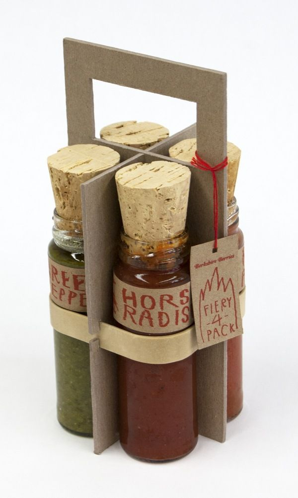 The Fiery 4 Pack features four unique spicy flavored jelly spreads to be used in sauces, sandwiches, and cooking. Oversize corks convey the bottled heat each jar contains. The handle can be used to comfortably carry the jars in the same way you would a briefcase or six-pack of beer. The rubber band sits very snugly and allows NO slip of the bottles. ♦ by Nicholas Weltyk, via Behance