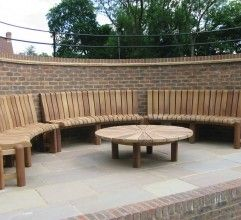 Bespoke patio seat with table