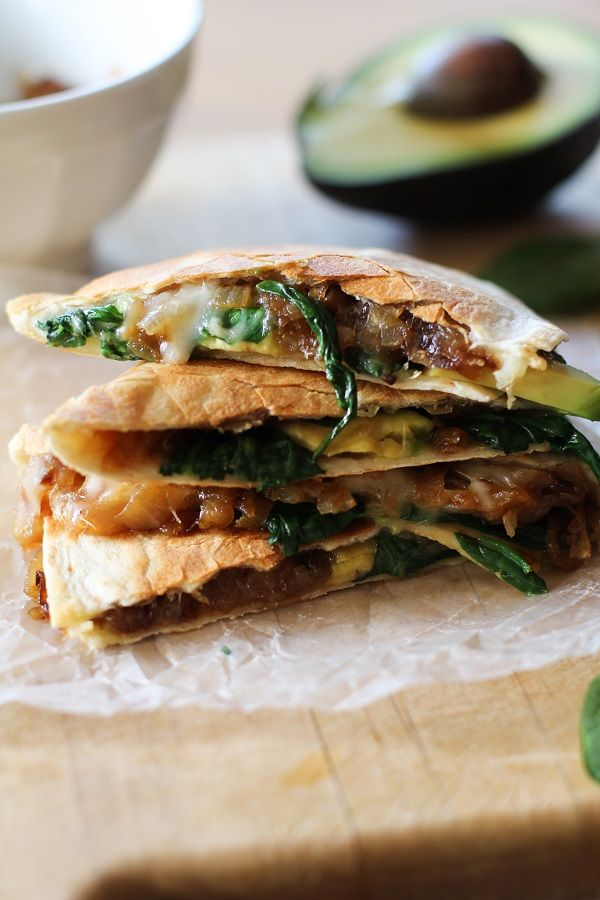 Caramelized Onion, Spinach, and Avocado Quesadilla.
