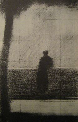 """Georges Seurat (1859-1891) """"L'invalide""""   (The Invalid), 1879–1881. Pastel on wove paper, 24.5 x 15.5 cm"""