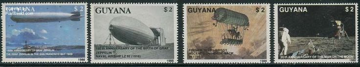 Zeppelin, moonlanding 4v, Country: Guyana, Year: 1989, Product code: sgyp2485, Nr. Michel: 2485/88, Nr. FSC: 28906
