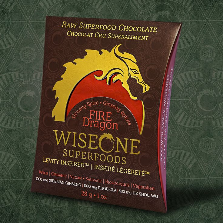 Our Fire Dragon Chocolate with jungle grown cacao, Siberian Ginseng, Rhodiola, and He Shou Wu.   Chocolate Designed to Fuel the Celebration.