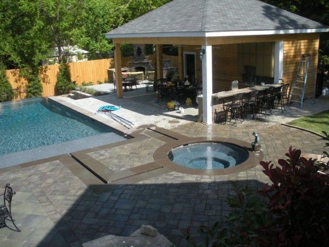This Backyard Features A Cambridge Pavers Pool Patio, And A Pavilion With  An Outdoor Kitchen.