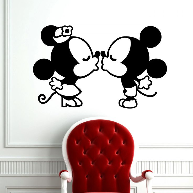 Mickey and Minnie cuties kissing vinyl wall decal.
