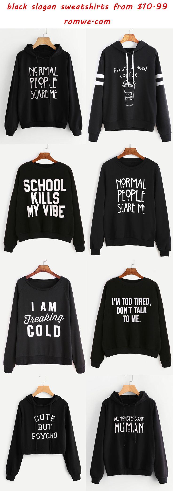 black slogan sweatshirts - romwe.com