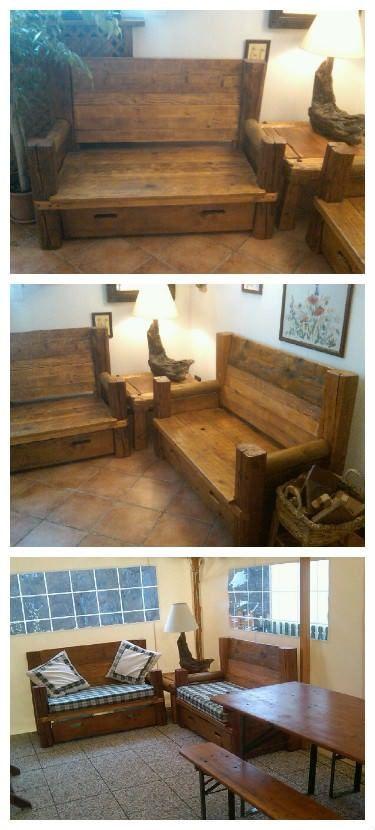 Divani 100/100 Riciclaggio / Pallets & Wood Sofa Two sofas and a table lamp all made with recycledwooden pallets & driftwood. Due divani un tavolino e la lampada tutto fatto con materiale di recupero...la lampada poi.... http://www.1001pallets.com/2013/11/divani-100100-riciclaggio
