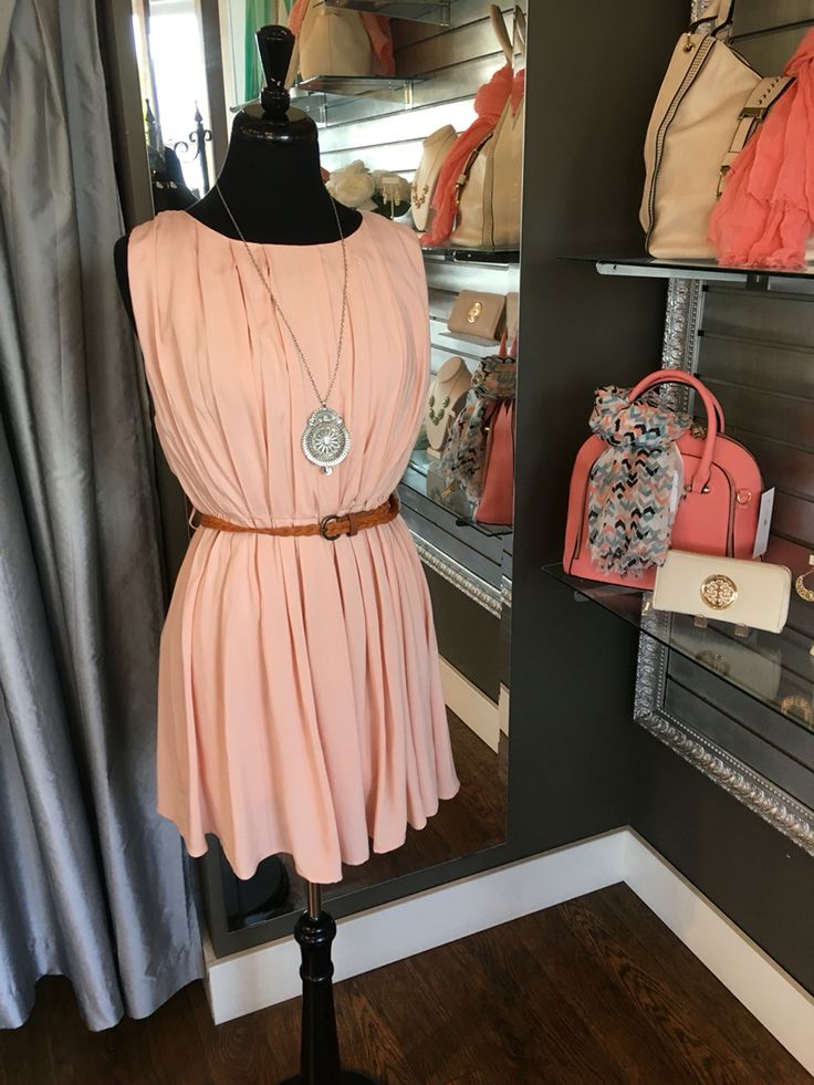 Peach Pleated Dress - This dress is beautifully feminine and comes with a braided belt to complete your look. The dress a very flattering cut and cinches you in at your natural waist. (Peach Pleated Dress $58CAD) #summer #summerstyle #fashionista