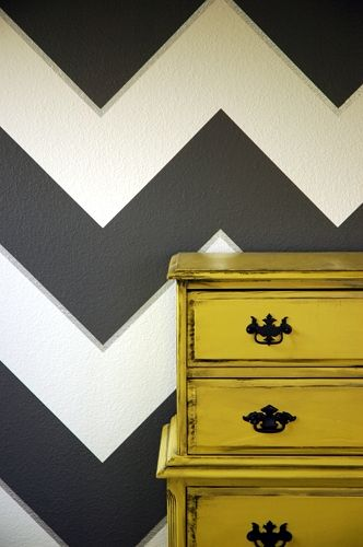 These chevrons just gave me a new wall idea for one of my rooms. Love that little silver line - makes the whole thing look 3D.