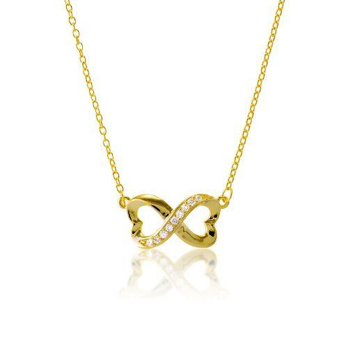"""Sterling Silver Gold-Plated 16 + 2"""" Extension Infinity Figure 8 Heart-Designed CZ Necklace Beaux Bijoux. $37.49. A brand new twist on the Infinity trend!. Gift box included. Can be delivered next Business Day!. Heart-design adds elegance to this already beautiful piece. Crafted of 925 Sterling Silver. Save 61%!"""
