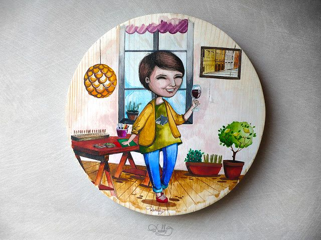 designed by #dushky | #art #painting #wood #watercolor #portrait #couple #love #crafter #eco